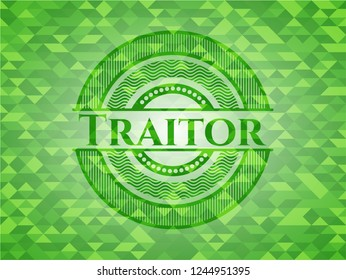 Traitor realistic green mosaic emblem