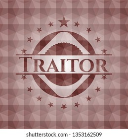 Traitor red badge with geometric pattern. Seamless.