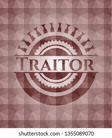 Traitor red emblem or badge with abstract geometric polygonal pattern background. Seamless.