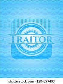 Traitor sky blue water wave emblem background.