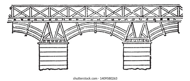 Trajan Bridge was a Roman segmental arch bridge the first bridge to be built over the lower Danube, vintage line drawing or engraving illustration.