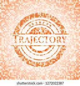 Trajectory abstract orange mosaic emblem with background