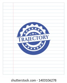 Trajectory drawn with pen. Blue ink. Vector Illustration. Detailed.