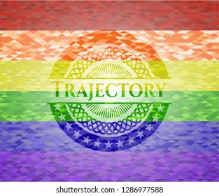 Trajectory emblem on mosaic background with the colors of the LGBT flag