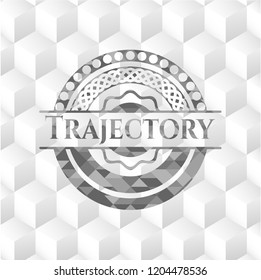 Trajectory grey emblem. Retro with geometric cube white background