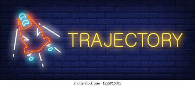 Trajectory neon sign. Glowing inscription with red bobsleigh on brick wall background. Vector illustration can be used for sport, competition, bobsleigh