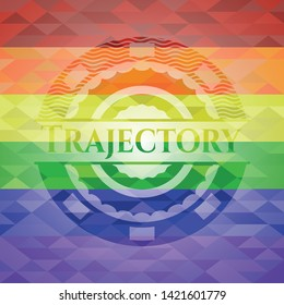Trajectory on mosaic background with the colors of the LGBT flag