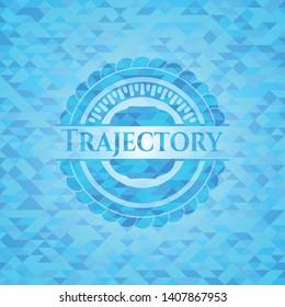 Trajectory realistic sky blue emblem. Mosaic background