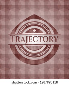 Trajectory red badge with geometric pattern. Seamless.