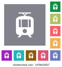 Tram flat icons on simple color square backgrounds