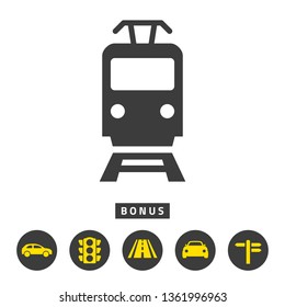 Tram icon on white background. Vector illustration