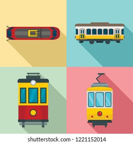 Tram icon set. Flat set of tram vector icons for web design