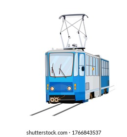 Tram isolated on white background. Blue tram. City trolley. Cartoon modern public transport. Passengers, people transportation service. Urban trolleybus design element. Stock vector illustration