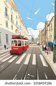Tram in the street of Lisbon. Portugal. Europe. Hand drawn vector illustration.