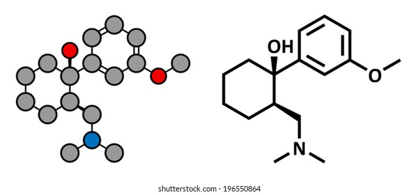 Tramadol opioid analgesic drug, chemical structure. Conventional skeletal formula and stylized representation, showing atoms (except hydrogen) as color coded circles.