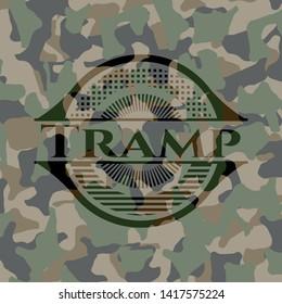 Tramp camo emblem. Vector Illustration. Detailed.