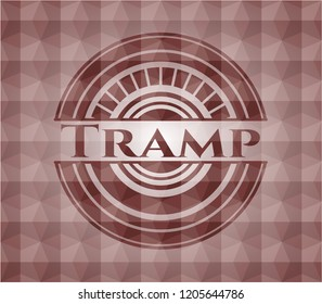 Tramp red badge with geometric pattern background. Seamless.