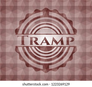 Tramp red emblem with geometric background. Seamless.