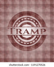 Tramp red seamless emblem or badge with geometric pattern background.
