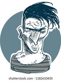 tramp, sidewalk superintendent, apache cartoon style free hand drawn vector illustration