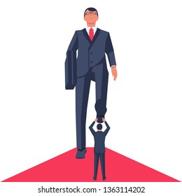 Trampling businessman. Business concept. Giant foot leader trampling businessman. Vector illustration flat design. Isolated on white background. Oppressed human conflict.