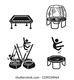 Trampoline icons set. Simple set of trampoline vector icons for web design on white background