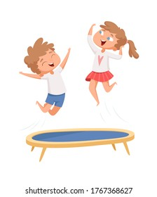 Trampoline jumping. Children sport games. Happy cartoon kids have fun. Isolated boy girl playing vector illustration