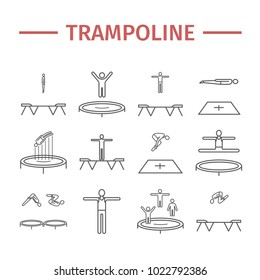 Trampoline jumping line icons. Acrobatics signs. Vector sports symbols.