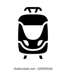 Tramway. Black icon isolated on white background, flat style