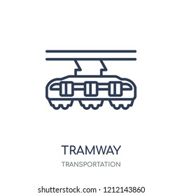 Tramway icon. Tramway linear symbol design from Transportation collection.