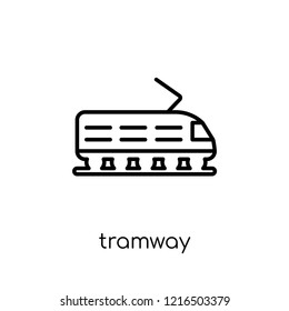 tramway icon. Trendy modern flat linear vector tramway icon on white background from thin line Transportation collection, outline vector illustration