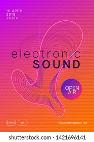 Trance event. Bright concert banner concept. Dynamic gradient shape and line. Neon trance event flyer. Techno dj party. Electro dance music. Electronic sound. Club fest poster.