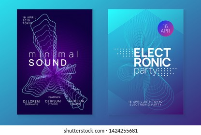 Trance event. Dynamic fluid shape and line. Futuristic show magazine set. Neon trance event flyer. Techno dj party. Electro dance music. Electronic sound. Club fest poster.