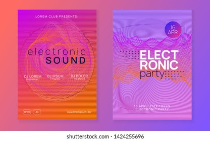 Trance event. Dynamic fluid shape and line. Digital discotheque magazine set. Neon trance event flyer. Techno dj party. Electro dance music. Electronic sound. Club fest poster.