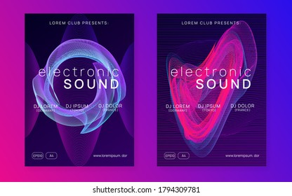 Trance event. Dynamic fluid shape and line. Futuristic concert invitation set. Neon trance event flyer. Techno dj party. Electro dance music. Electronic sound. Club fest poster.