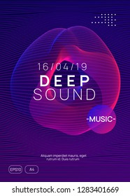 Trance event. Dynamic gradient shape and line. Geometric show banner template. Neon trance event flyer. Techno dj party. Electro dance music. Electronic sound. Club fest poster.