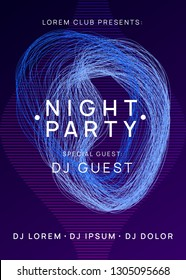 Trance event. Dynamic gradient shape and line. Wavy show invitation design. Neon trance event flyer. Techno dj party. Electro dance music. Electronic sound. Club fest poster.