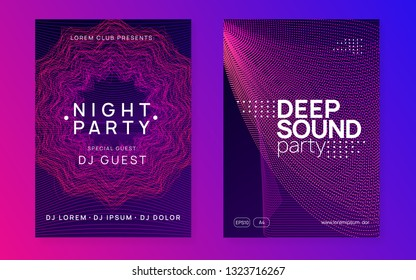 Trance event. Dynamic gradient shape and line. Abstract discotheque banner set. Neon trance event flyer. Techno dj party. Electro dance music. Electronic sound. Club fest poster.