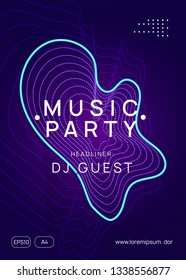Trance event. Dynamic gradient shape and line. Trendy concert magazine design. Neon trance event flyer. Techno dj party. Electro dance music. Electronic sound. Club fest poster.