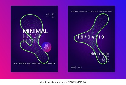 Trance event. Dynamic gradient shape and line. Geometric concert brochure set. Neon trance event flyer. Techno dj party. Electro dance music. Electronic sound. Club fest poster.