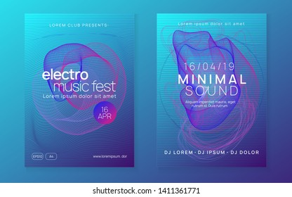 Trance event. Dynamic gradient shape and line. Trendy show magazine set. Neon trance event flyer. Techno dj party. Electro dance music. Electronic sound. Club fest poster.
