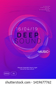 Trance event. Dynamic gradient shape and line. Minimal discotheque invitation template. Neon trance event flyer. Techno dj party. Electro dance music. Electronic sound. Club fest poster.