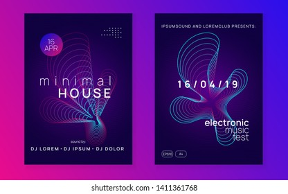 Trance event. Energy discotheque brochure set. Dynamic gradient shape and line. Neon trance event flyer. Techno dj party. Electro dance music. Electronic sound. Club fest poster.