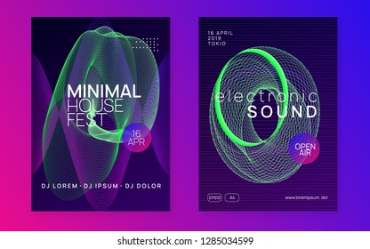 Trance event. Futuristic discotheque cover set. Dynamic gradient shape and line. Neon trance event flyer. Techno dj party. Electro dance music. Electronic sound. Club fest poster.