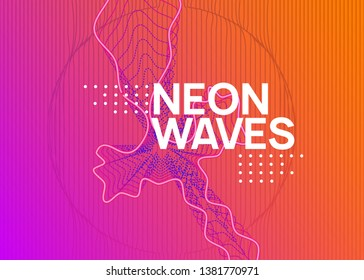 Trance event. Modern concert banner template. Dynamic fluid shape and line. Neon trance event flyer. Techno dj party. Electro dance music. Electronic sound. Club fest poster.