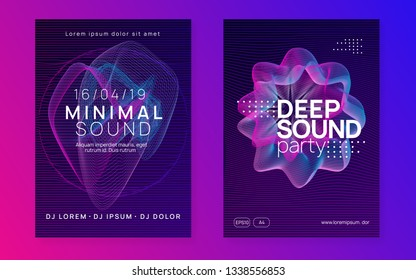 Trance event. Trendy concert invitation set. Dynamic gradient shape and line. Neon trance event flyer. Techno dj party. Electro dance music. Electronic sound. Club fest poster.