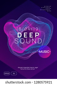 Trance event. Wavy discotheque banner design. Dynamic gradient shape and line. Neon trance event flyer. Techno dj party. Electro dance music. Electronic sound. Club fest poster.