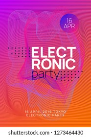 Trance event. Wavy discotheque brochure design. Dynamic gradient shape and line. Neon trance event flyer. Techno dj party. Electro dance music. Electronic sound. Club fest poster.