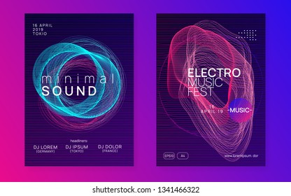 Trance party. Bright concert magazine set. Dynamic gradient shape and line. Neon trance party flyer. Electro dance music. Electronic sound. Club dj poster. Techno fest event.