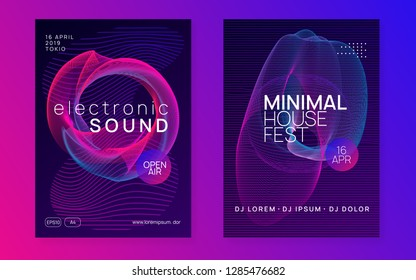 Trance party. Bright show magazine set. Dynamic gradient shape and line. Neon trance party flyer. Electro dance music. Electronic sound. Club dj poster. Techno fest event.